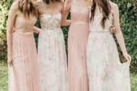20 blush and light floral bridesmaids' dresses