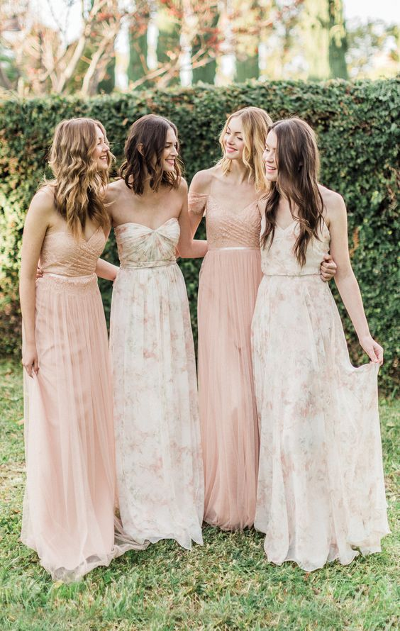 blush and light floral bridesmaids' dresses