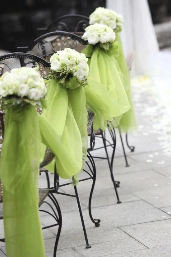 lime green tulle for decorating wedding aisle
