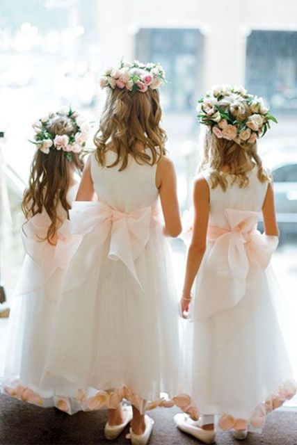 white tulle midi dresses with a pink petal rim