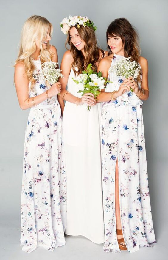 floral maxi dresses with a halter neckline