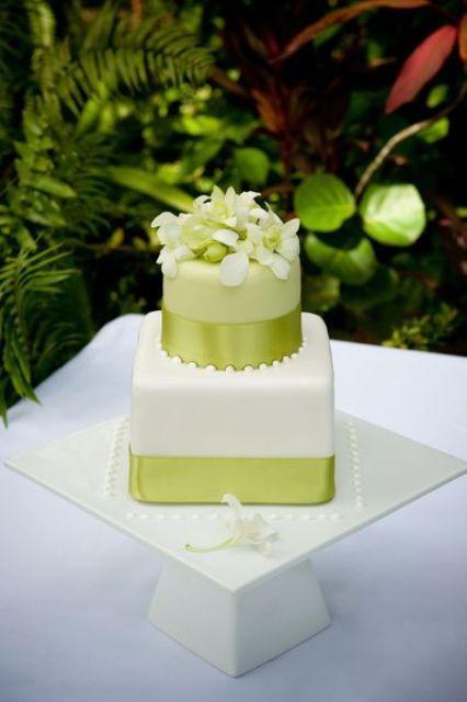 key lime wedding cake decorated with corresponding ribbon