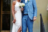 21 modern city hall wedding dress with a slit for an elegant look