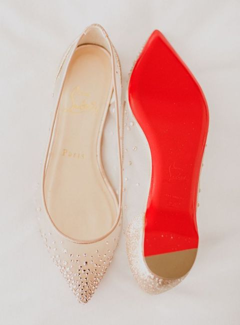 nude embellished flats with red bottoms