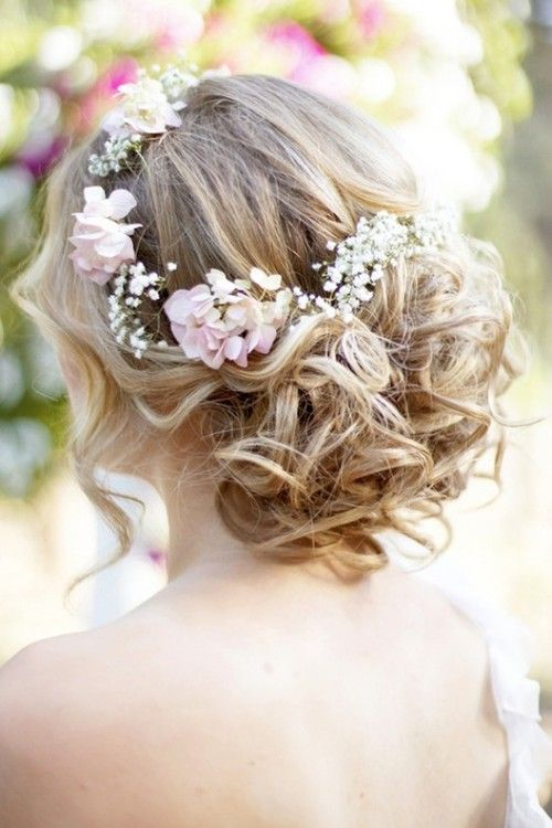 curly updo with baby's breath