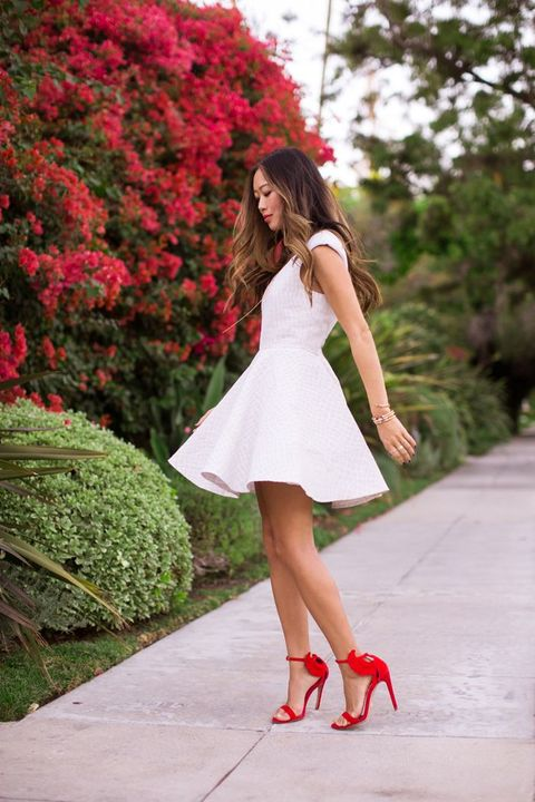 fancy red heels can become an eye catchy accent