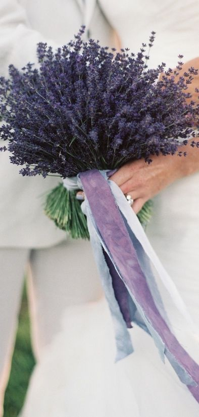 lavender bouquet with purple ribbon