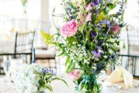22 simple high wildflower centerpiece in a jar