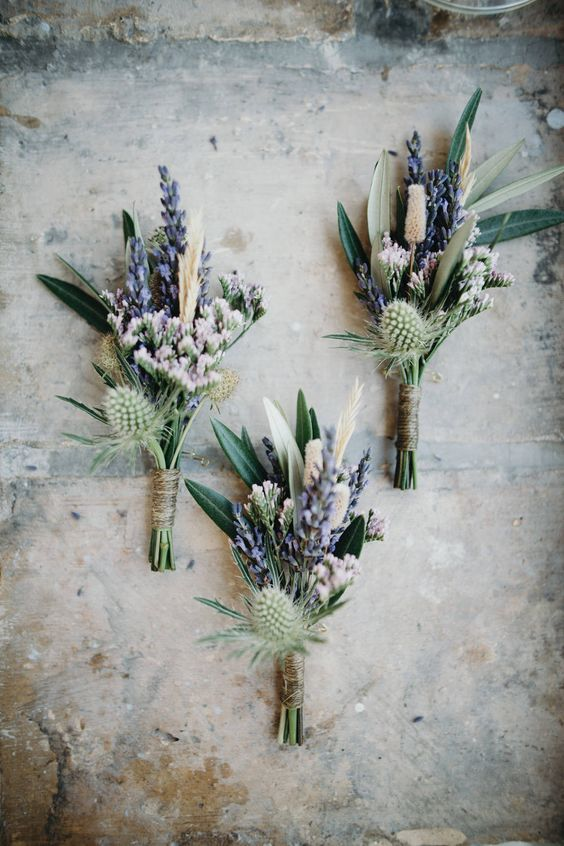 lavender and thistle boutonnieres