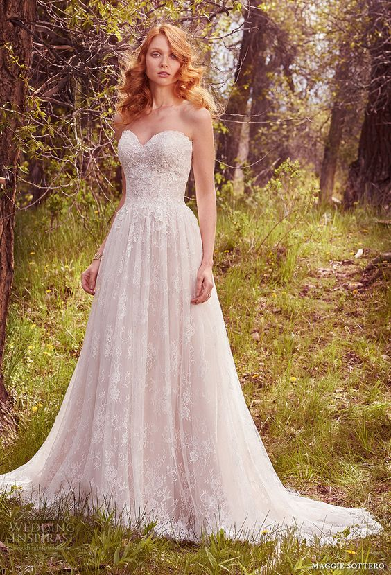 strapless sweetheart neckline full embellishment A-line wedding dress by Maggie Sottero