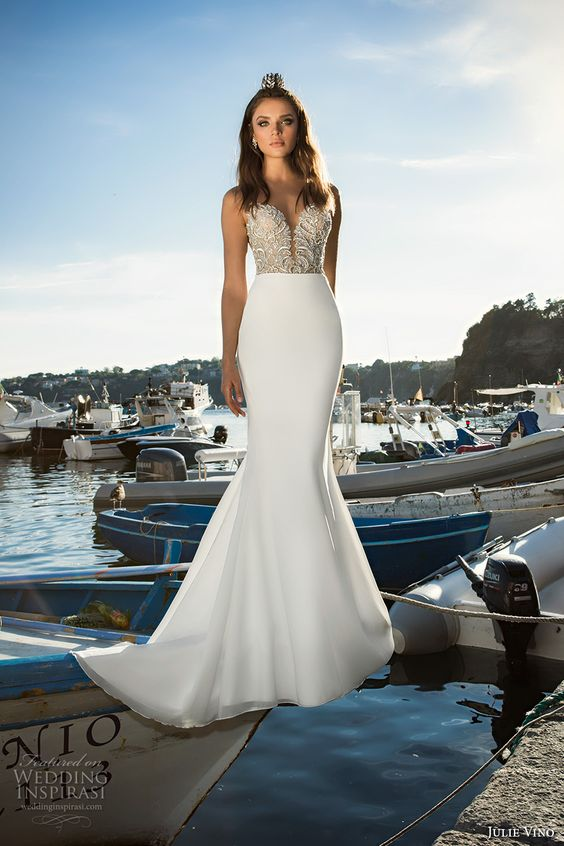 deep plunging sweetheart neckline dress with an embellished bodice by Julie Vino