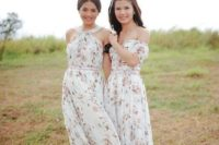 24 long mix-and-match bridesmaid dresses with crispy floral prints on the white texture