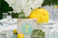 24 mint and yellow decor, yellow and white flowers