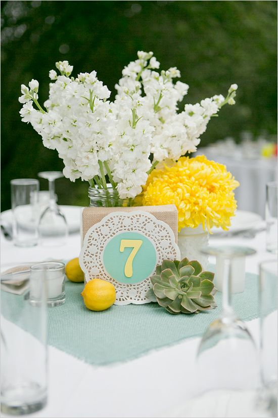 mint and yellow decor, yellow and white flowers