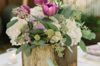 24 purple, white and green rustic wedding centerpiece in a wooden box