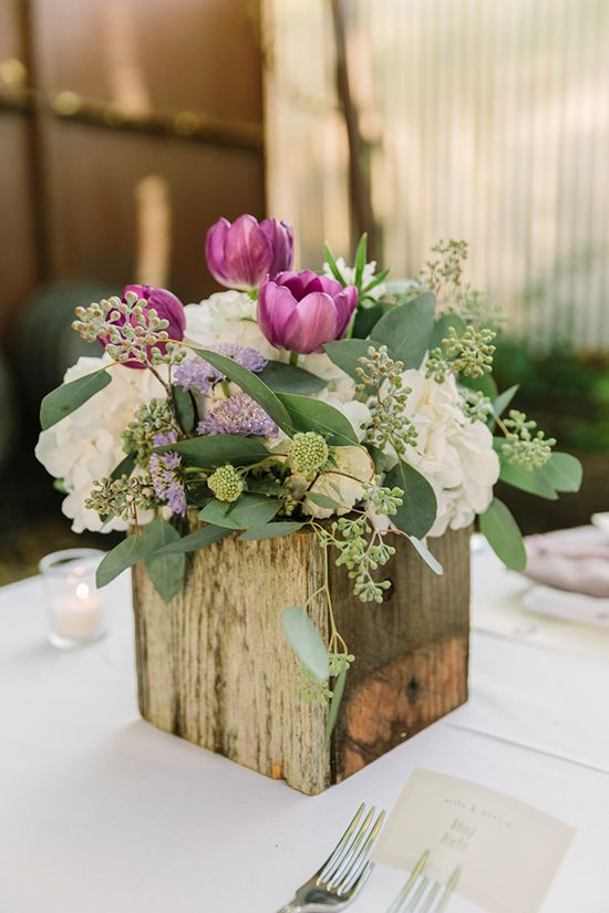 purple, white and green rustic wedding centerpiece in a wooden box