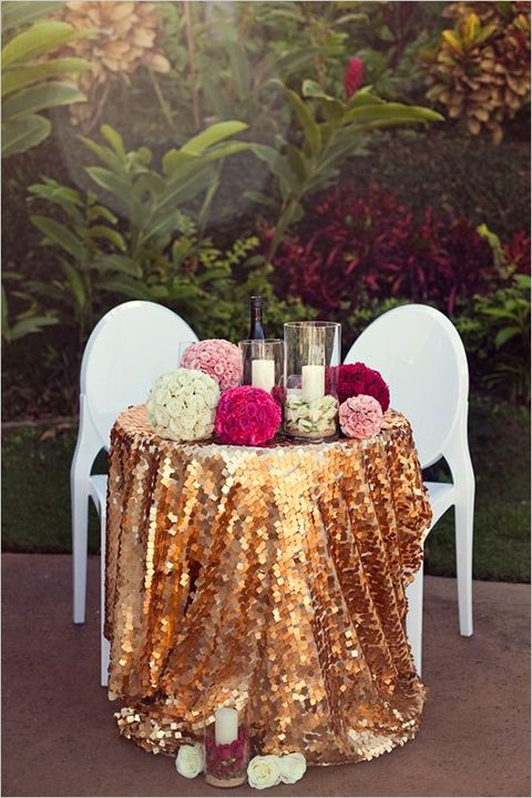 sequin tablecloth for the sweetheart table