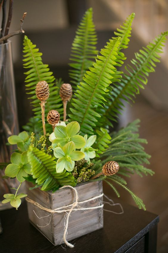 woodland wooden box wedding centerpiece