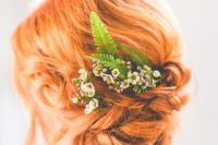25 ginger red hair bride with a wavy updo, fern and flowers