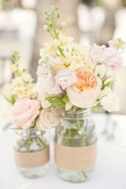 pastel-colored flowers for centerpieces