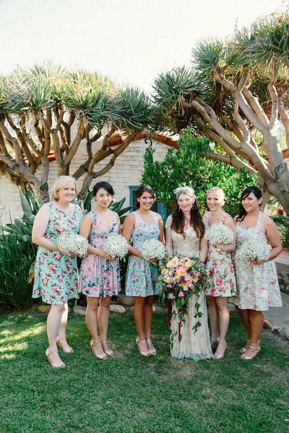 short vibrant floral dresses for the bridesmaids