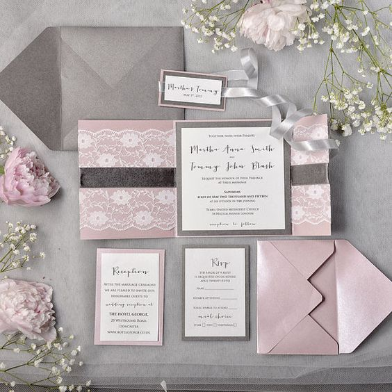 grey and pink wedding stationery