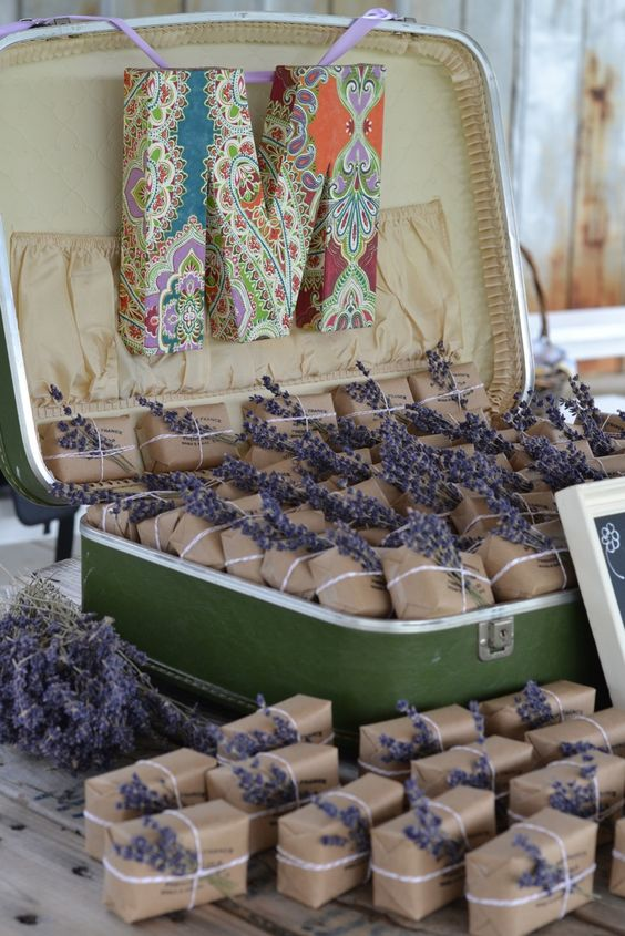 lavender soap favors in a vintage suitcase