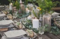 26 spring woodland wedding table with billy balls and greenery