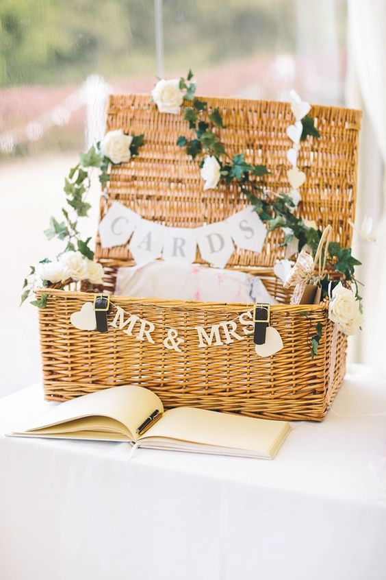 a basket for guests' cards