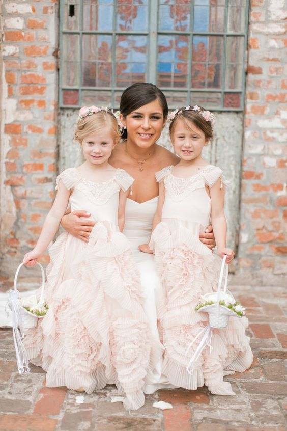 blush pink ruffled dresses with cap sleeves