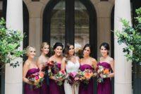 27 bold purple strapless sweetheart bridesmaids' dresses