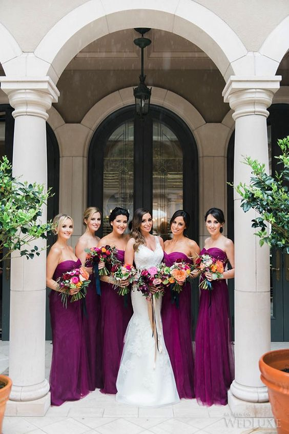 bold purple strapless sweetheart bridesmaids' dresses