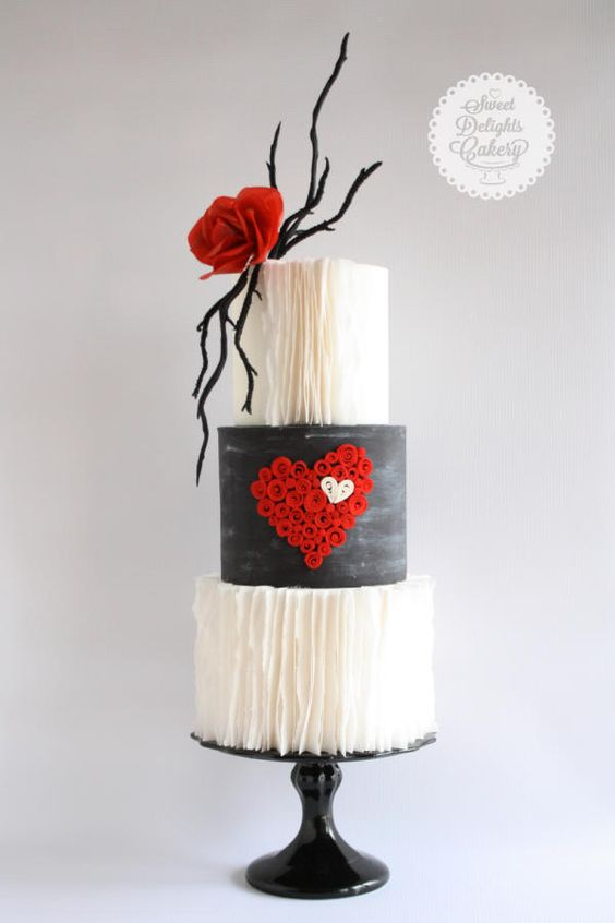 chic modern cake with ruffles and ared quilling heart