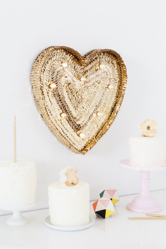 gold sequin marquee heart for wedding decor