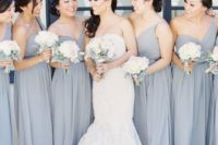 28 grey one shoulder bridesmaids' dresses