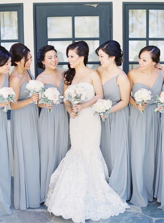 Grey One Shoulder Bridesmaids Dresses