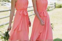 29 knee coral dresses with a halter neckline