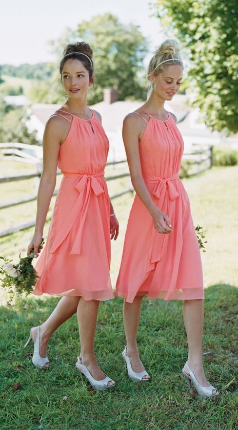 knee coral dresses with a halter neckline