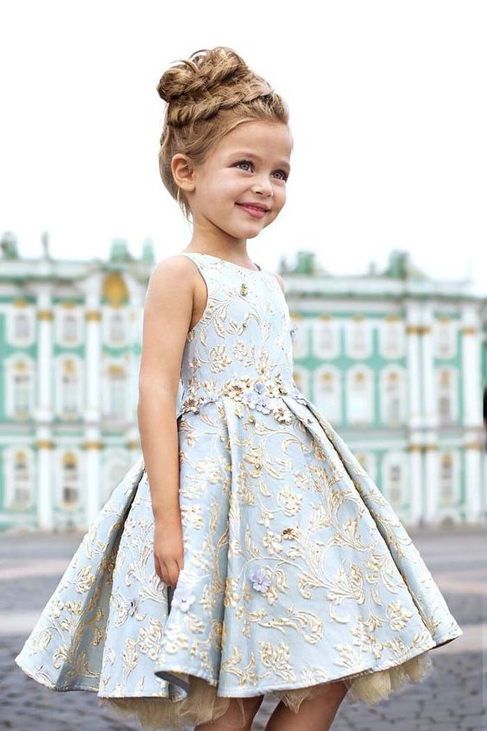 light blue knee-length dress with gold floral appliques