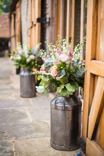 milk churn planters are ideal for rustic decor