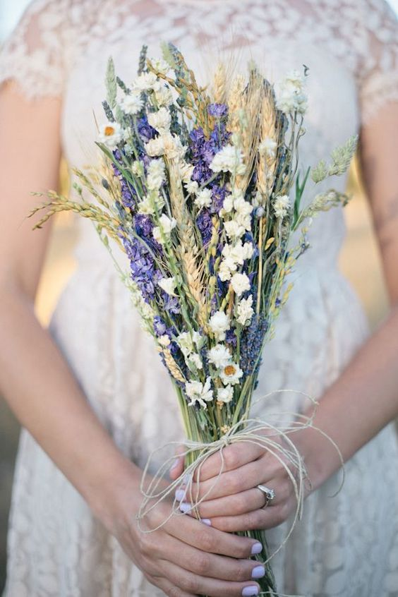 wheat and lavender wedding bouquet