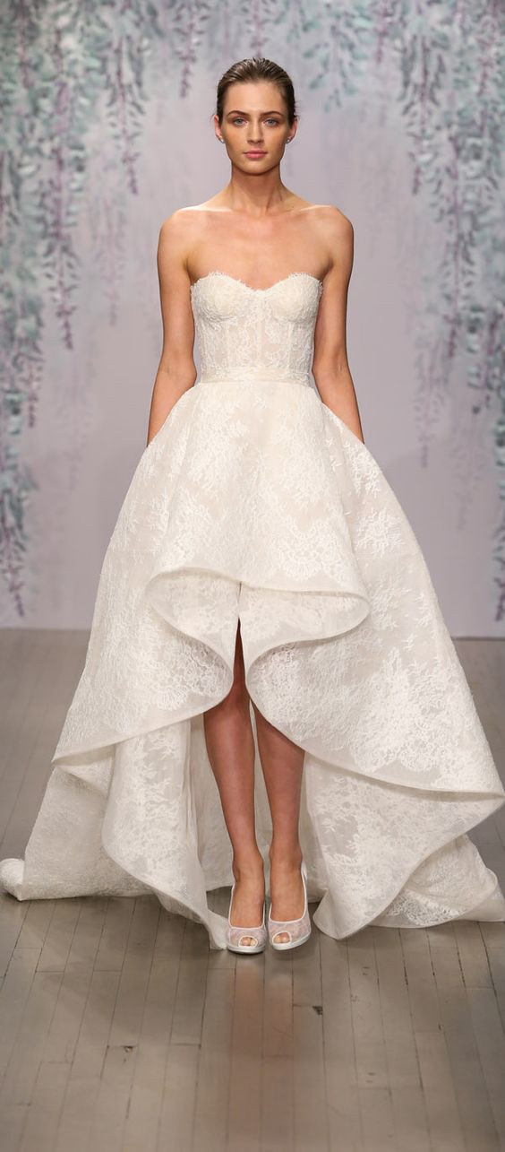 Monique Lhuillier strapless sweetheart lace wedding dress with high low cascading