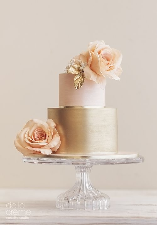 blush and metallic gold wedding cake with fresh flowers