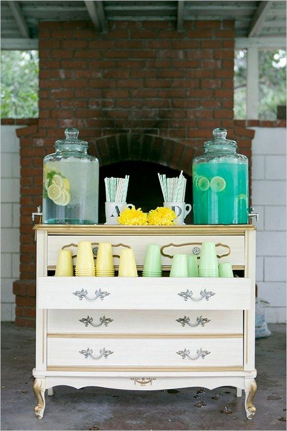 mint and yellow wedding drink station ideas for a backyard wedding reception