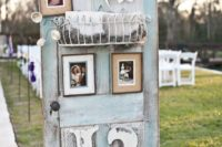 30 patina-colored door with photos and monograms for wedding decor