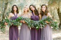 30 purple one shoulder dresses and grey lavender bridesmaids' gowns