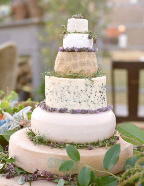 a cheese tower with rosemary and lavender instead of a traditional cake