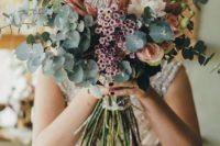 31 lush eucalyptus and protea bouquet for a boho wedding