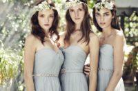 32 light grey strapless sweetheart bridesmaids' dresses