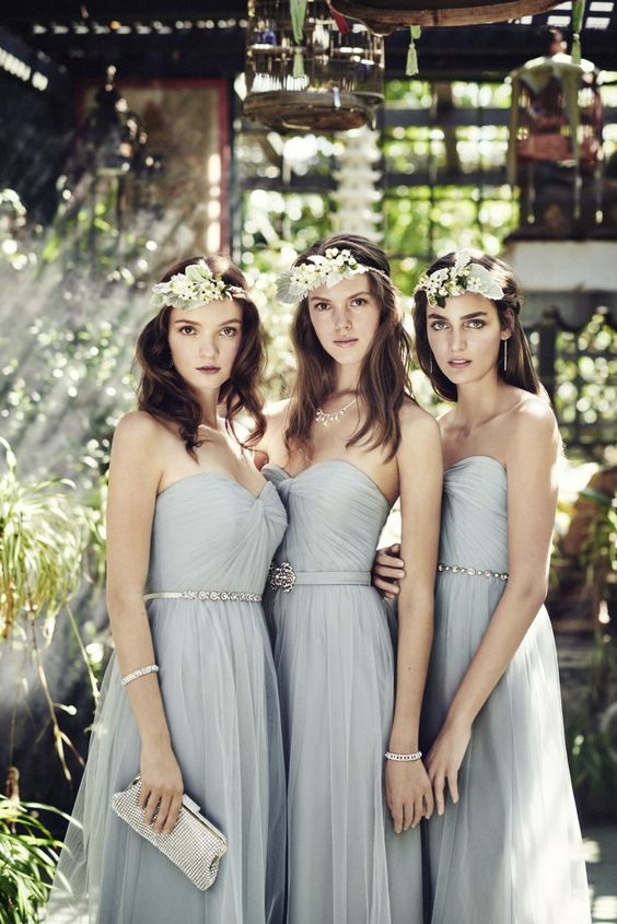 Picture Of Light Grey Strapless Sweetheart Bridesmaids Dresses